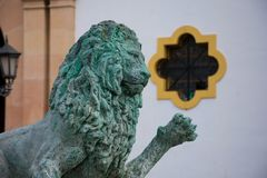 Lion Sculpture from the Hercules Fountain at the Socorro Square. Ronda, Spain. January 19, 2018. Lion Sculpture from the Hercules Fountain at the Socorro Square Stock Photo