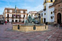 View of Socorro Square Plaza del Socorro. Ronda, Spain. January 19, 2018.  View of Socorro Square Plaza del Socorro and Hercules Fountain Stock Photography