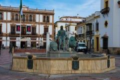 View of Socorro Square Plaza del Socorro. Ronda, Spain. January 19, 2018.  View of Socorro Square Plaza del Socorro and Hercules Fountain Stock Images