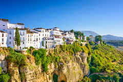 Ronda Spain. Ronda, Spain old town cityscape on the Tajo Gorge stock photos