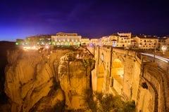 Ronda, Spain Old Town. Ronda, Spain at Puente Nuevo Bridge at night Royalty Free Stock Photography