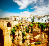 Ronda, Spain. Panoramic view. Of the old city of Ronda at sunset Royalty Free Stock Image