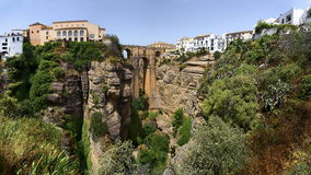 Ronda, Spain at the Puente Nuevo Bridge over the Tajo Gorge.- Panorama Royalty Free Stock Photography