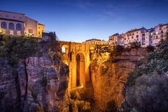 Ronda, Spain at Puento Nuevo Bridge Stock Photography