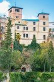 RONDA SPANIEN - FEBRUARI 04, 2014: Sikt till Palacio del Rey Moro, Arkivbilder