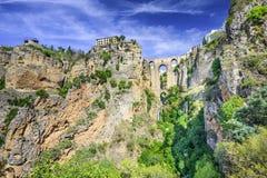 Ronda Spanien på Puento Nuevo Bridge Arkivfoto