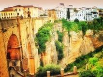 Ronda, Spanje, een landschap met de Kloof van Taag Royalty-vrije Stock Afbeeldingen