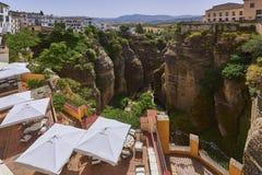 Ronda, Spanje in Puente Nuevo Bridge Stock Foto
