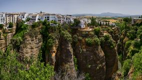 Ronda, Spanje in Puente Nuevo Bridge Stock Afbeelding