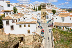 Ronda Town in Andalusia. White Town (Pueblo Blanco) of Ronda medieval residential architecture in Spain, Andalusia region Royalty Free Stock Photo