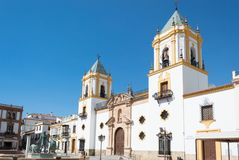 Ronda travel in Andalusia Spain Europe. Church in square stock photography