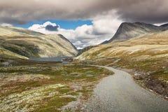 Rondane nationaal park met weg en bergen stock afbeelding