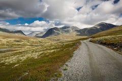 Rondane nationaal park met weg en bergen stock foto