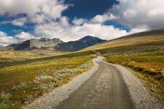Rondane nationaal park met weg en bergen royalty-vrije stock fotografie