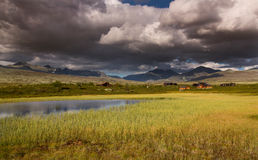 Rondane national park with mountains and swamp Stock Photo