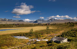 Rondane national park with mountains and swamp Royalty Free Stock Photo
