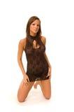 Rondborstig vrouwelijk model in studio Royalty-vrije Stock Foto's