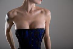 Rondborstige jonge vrouw in zwart en blauw korset Royalty-vrije Stock Afbeeldingen