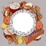 Ronde achtergrond met nota's en muzikale instrumenten op grijs royalty-vrije illustratie