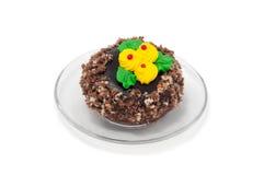 Ronde cake op plaat Stock Afbeeldingen