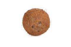 Ronde die kokosnoot op witte achtergrond wordt geïsoleerd Stock Afbeelding