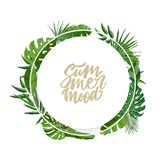 Ronde die slinger of kroon van palmbladeren of gebladerte van regenwoudinstallaties binnen wordt gemaakt en het van letters voorz royalty-vrije illustratie