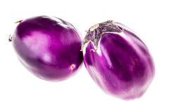 Ronde geïsoleerde aubergines Royalty-vrije Stock Foto