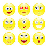 Ronde grappige emoticons Stock Foto's