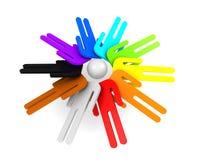 Ronde groep schematische kleurrijke 3d mensen Royalty-vrije Stock Afbeelding