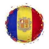 Ronde grungevlag van Andorra met plonsen in vlagkleur royalty-vrije illustratie
