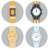 Ronde het Horlogereeks van de Kaderhand, Vlakke Vectorillustratie Royalty-vrije Stock Fotografie