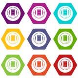 Ronde het pictogram vastgestelde kleur van de stadion hoogste mening hexahedron Stock Foto's