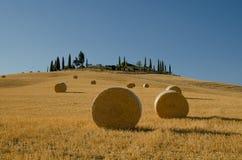 Ronde hooibalen, Toscanië, Italië Royalty-vrije Stock Afbeelding