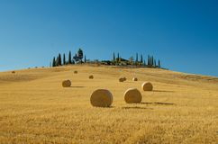 Ronde hooibalen, Toscanië, Italië Stock Foto