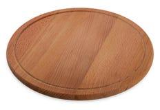 Ronde houten scherpe raad, rustieke die schotel, op witte backg wordt geïsoleerd royalty-vrije stock foto's
