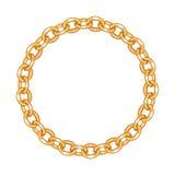 Ronde kadervector - gouden ketting op het wit Royalty-vrije Stock Foto's