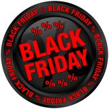 Ronde Knoop Zwart en Rood Black Friday vector illustratie