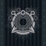 Ronde Kroon met Dwarsharpoenen Overzees Uitstekend Etiket Royalty-vrije Stock Afbeeldingen