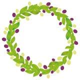 Ronde kroon met groene bladeren en rode en groene druiven Verse sappige die bessen op witte achtergrond worden geïsoleerd Vector Royalty-vrije Stock Afbeeldingen