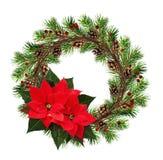 Ronde kroon van droge takjes en Kerstboomtakken met rood royalty-vrije stock foto's