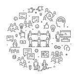 Ronde lijnbanner voor groepswerk en samenwerking vector illustratie