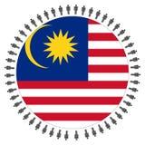 Ronde Maleise vlag met mensen royalty-vrije illustratie