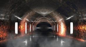 Ronde ondergrondse tunnel, hol, mijn Verlichting door neonlicht royalty-vrije illustratie