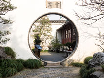Ronde poort in Chinese tuin Royalty-vrije Stock Foto