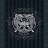 Ronde Reddingsboei met Twee Vlaggenkruis Overzees Uitstekend Etiket op Zwarte Royalty-vrije Stock Afbeelding