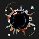 Ronde reisachtergrond met gezichten en vliegtuigen wereldwijd royalty-vrije illustratie