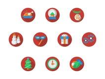 Ronde rode Kerstmis en Nieuwjaar geplaatste pictogrammen Royalty-vrije Stock Afbeelding