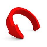 Ronde rode pijl op witte achtergrond Royalty-vrije Stock Afbeeldingen