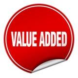 ronde rode sticker op de toegevoegde waarde royalty-vrije illustratie