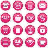 Ronde roze pictogrammen Royalty-vrije Stock Foto's